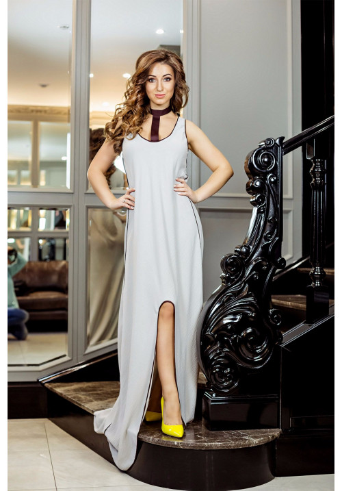 "Платье ""Сиара"", серый-коричневый, макси"