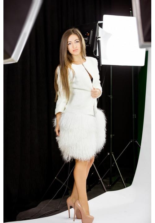 """Пальто """"Новаль"""", белое, итальянская шерсть"""