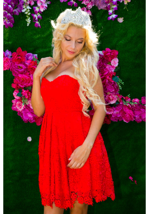 """Платье """"Мемори"""", красный, кружева"""