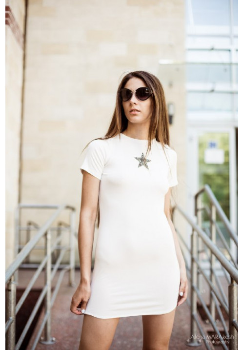 "Платье ""Алессандро"", белое, трикотаж"