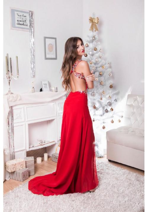"Платье ""Менди"", красное, шифон"