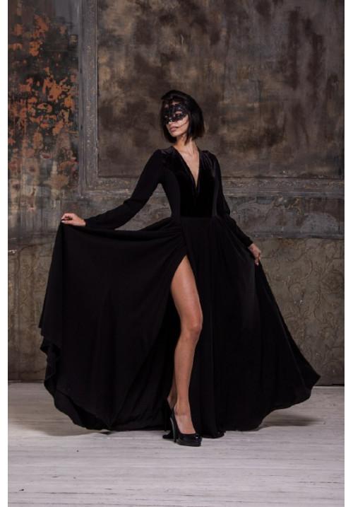 "Платье ""Джейден"", черное, штапель, бархат, макси"