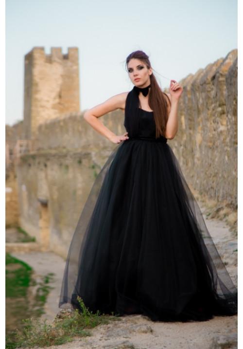 """Бальное платье """"Роберта"""", черное, фатин, макси"""