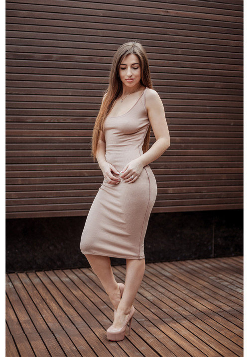 "Платье ""Лилу"", беж, трикотаж, миди"