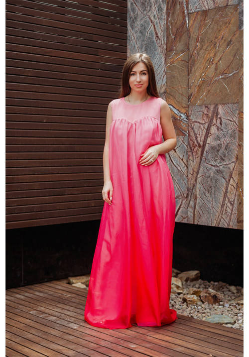 "Платье ""Инесса"", коралово-розовое, шифон, макси"