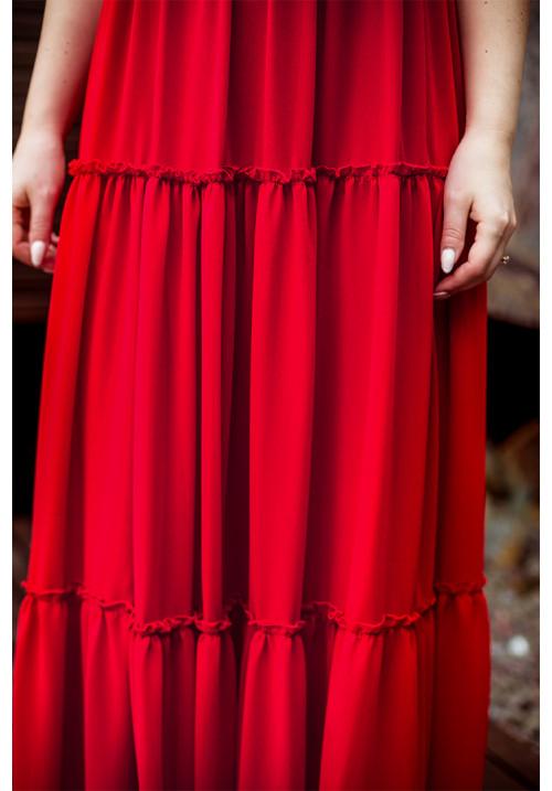 """Платье """"Хауси"""", красное, шифон, макси"""