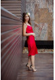 """Платье """"Беллучи"""", красное, шелк, миди"""