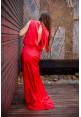 """Платье """"Викки"""", красное, шелк, макси-шлейф"""