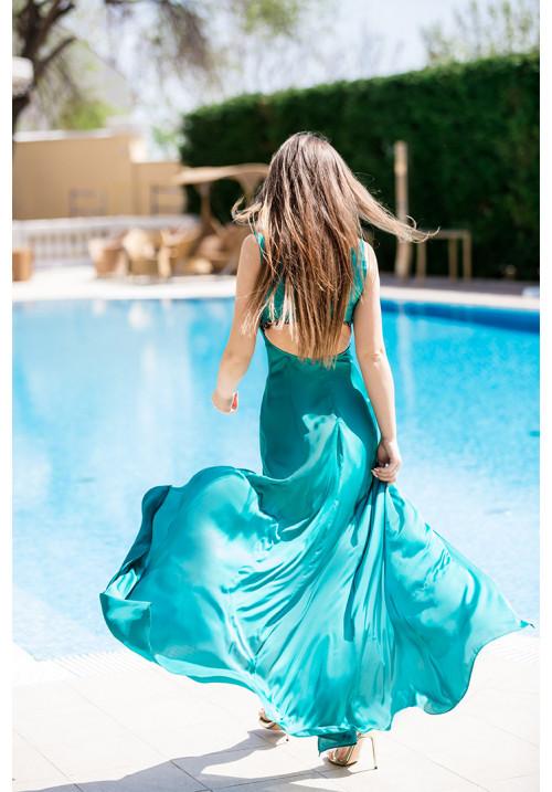 "Платье ""Дарси"", бирюза, шелк, макси"