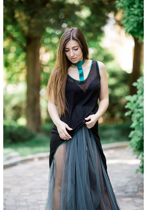 "Платье ""Сандра"", черный-хаки, шифон-фатин"