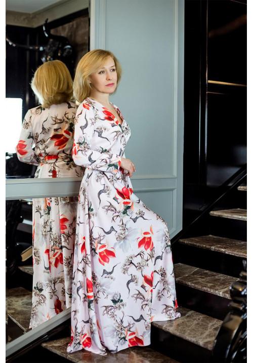 """Платье """"Лана"""", розовое-принт, шелк, макси"""
