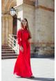 """Платье """"Доминика"""", красное, шелк, макси"""