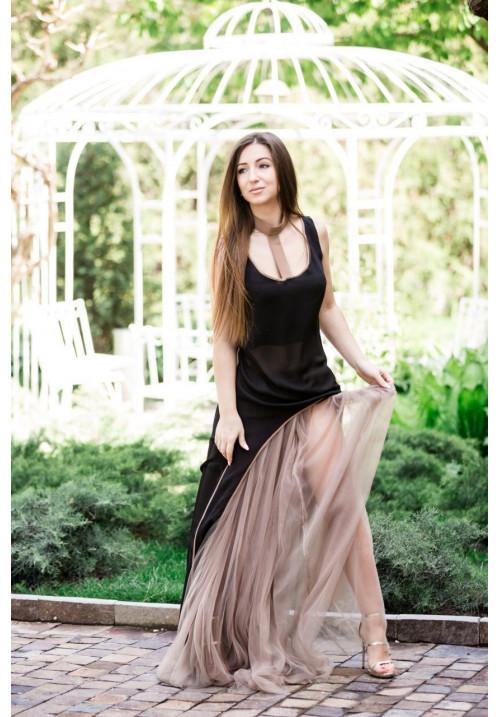 """Платье """"Сандра"""", черный-беж, шифон-фатин"""