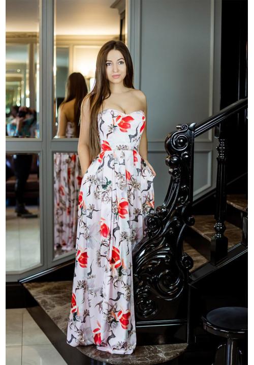 """Платье """"Дженифер"""", розовое-принт, шелк"""