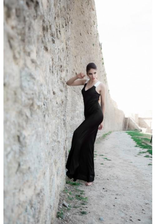 """Платье """"Эммануэль"""", черное, шелк, макси"""