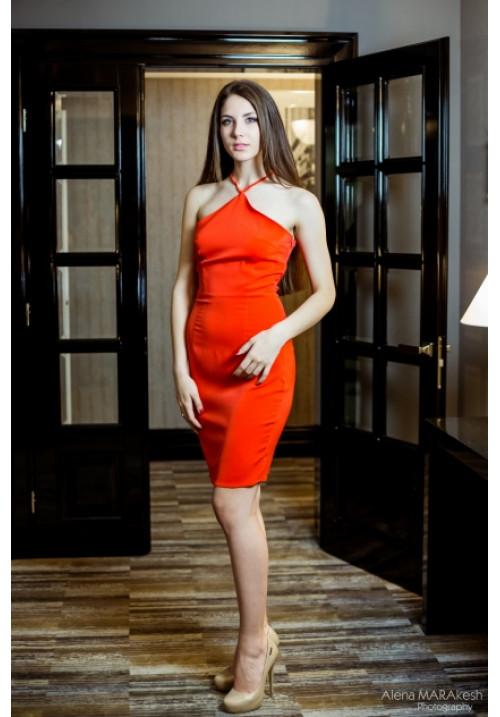 """Платье """"Симона"""", красное, креп-шелк"""