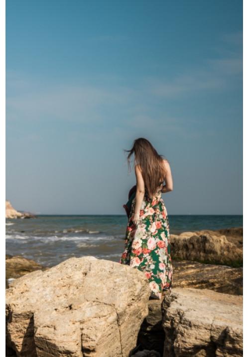 """Платье """"Дженифер"""", зеленое-принт, шелк, макси"""
