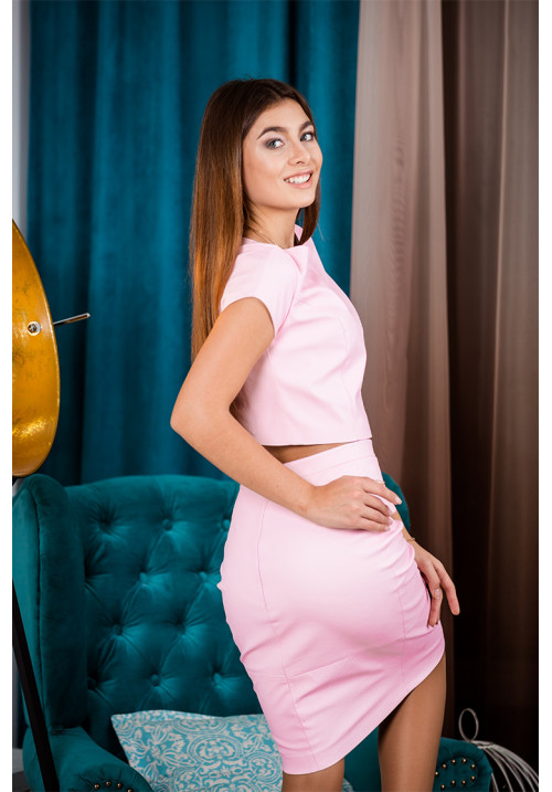 """Топ """"Джоана"""", розовый, экокожа"""