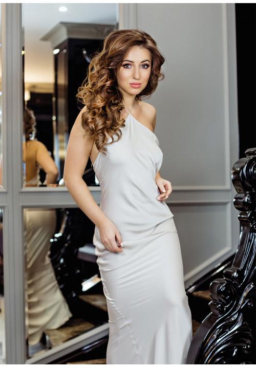 """Платье """"Оливия"""", беж, шелк, макси"""